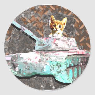 Cat Tank Round Stickers
