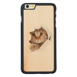 Cat tearing paper - looking cat - cute cats - pet carved maple iPhone 6 plus case