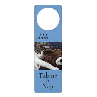 Cat Teddy Napping Door Hanger