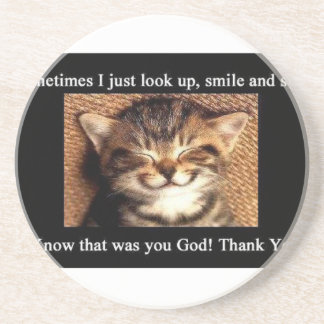 Cat Thank You Beverage Coaster