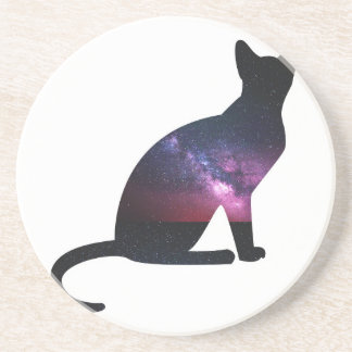 Cat that shows the galaxy and the big universe drink coasters