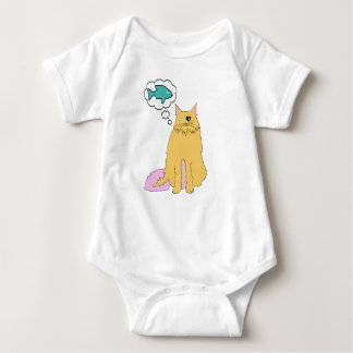 Cat thinking of Fish Baby Bodysuit