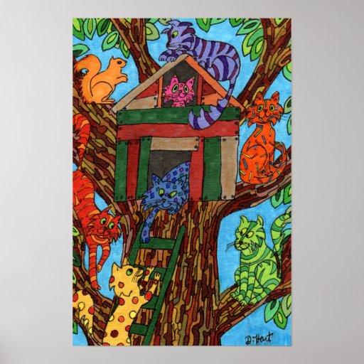 Cat Tree House Print