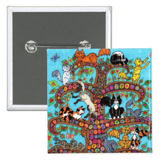 Cat Tree of Life 2 15 Cm Square Badge
