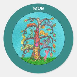 Cat Tree of Life Custom Monogram Classic Round Sticker