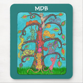 Cat Tree of Life Custom Monogram Mouse Pad
