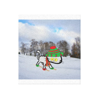 Cat trying his new Snow Shoes Canvas Print