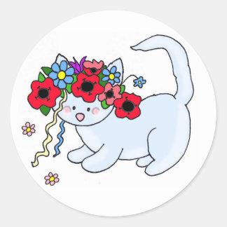 Cat Ukrainian Folk Art Classic Round Sticker
