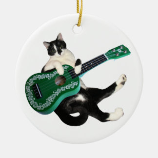Cat Ukulele Ceramic Ornament