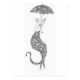 cat umbrella postcard