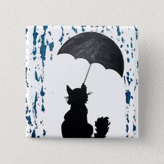 Cat Under Umbrella 15 Cm Square Badge