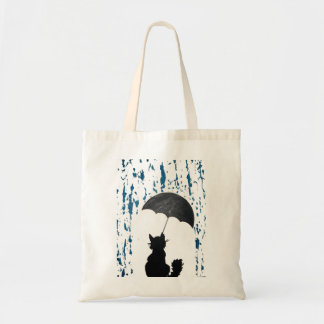 Cat Under Umbrella Tote Bag