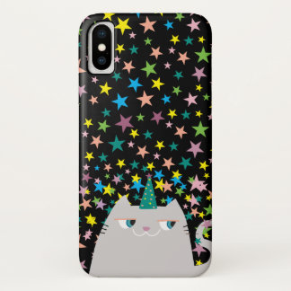 Cat Unicorn Caticorn Stars Black Magic Wizard Cute iPhone X Case