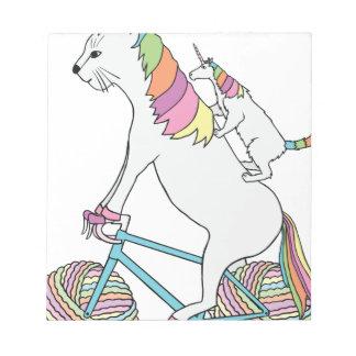 Cat Unicorn Riding Unicorn Cat Who Is Riding  Bike Notepad