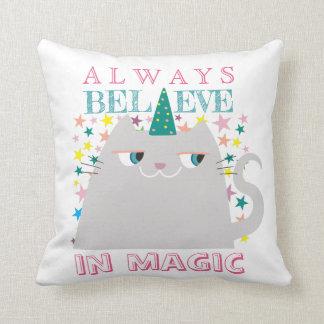 Cat Unicorn Stars Cute Believe in Magic Colorful Cushion