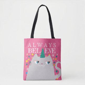 Cat Unicorn Stars Cute Believe in Magic Funny Pink Tote Bag