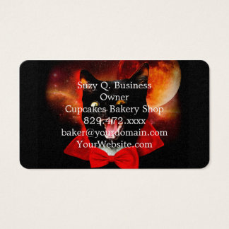 cat vampire - black cat - funny cats business card