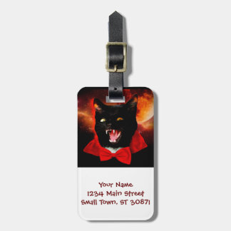 cat vampire - black cat - funny cats luggage tag