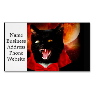 cat vampire - black cat - funny cats 	Magnetic business card
