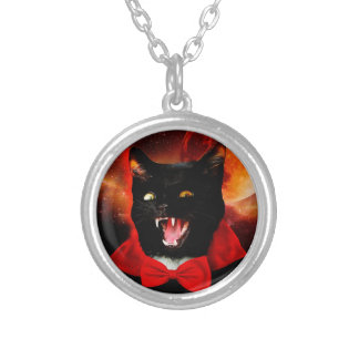 cat vampire - black cat - funny cats silver plated necklace