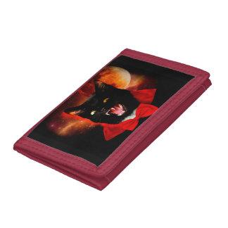 cat vampire - black cat - funny cats tri-fold wallet