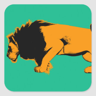 Cat Versus Lion Ready to Fight or Take On Square Sticker