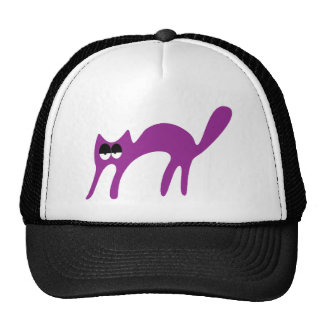 Cat Walking About Purple Hi Eyes Mesh Hats