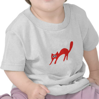 Cat Walking About Red Cash Eyes Blue T-shirt