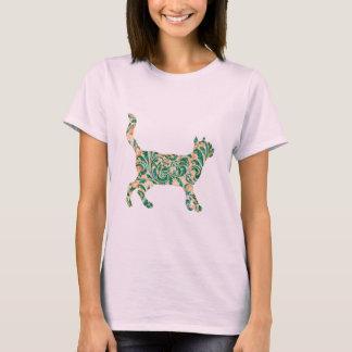 Cat Walking - Green Vintage Damask Silhouette T-Shirt