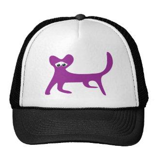Cat Walking Sideways Purple Sad Eyes Mesh Hats