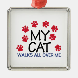 Cat Walks Paws Silver-Colored Square Decoration