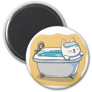Cat washing in the bath magnet