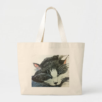Cat water color and inked drawng large tote bag