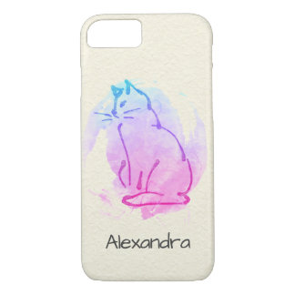 Cat Watercolor on Crumpled Paper - Optional Name iPhone 8/7 Case