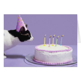Cat wearing birthday hat blowing out candles greeting card