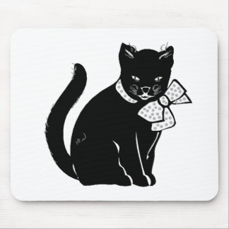 Cat Wearing Bow Mouse Pads