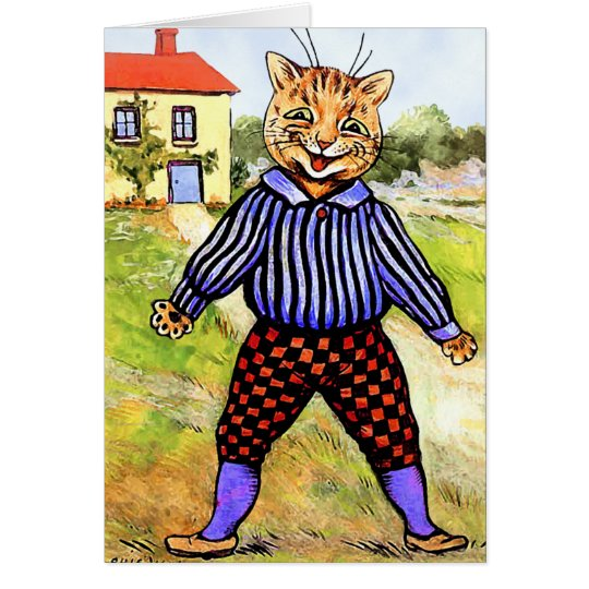 Cat Wearing Breeches by Louis Wain Card