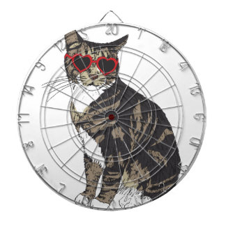 Cat Wearing Heart Glasses Dartboard With Darts