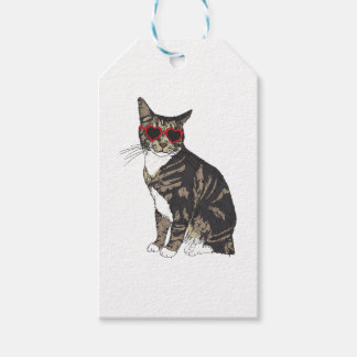 Cat Wearing Heart Glasses Gift Tags