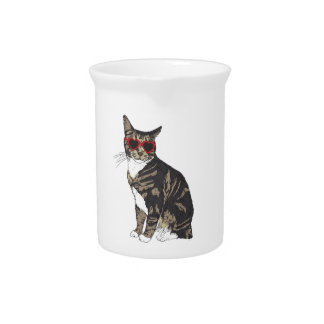 Cat Wearing Heart Glasses Pitcher