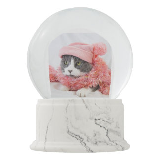 Cat Wearing Pink Winter Hat and Scarf Snow Globe