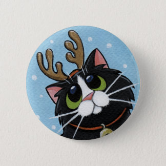 Cat Wearing Reindeer Antlers - Xmas Cat Art Button