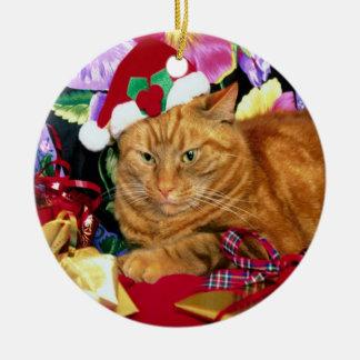 Cat Wearing Santa Claus Hat - Ornament