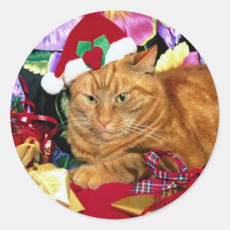 Cat Wearing Santa Claus Hat - Sticker