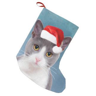Cat wearing Santa Hat Christmas Portrait