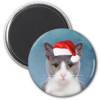 Cat wearing Santa Hat Christmas Portrait Magnet