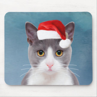 Cat wearing Santa Hat Christmas Portrait Mouse Pad