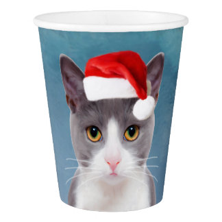Cat wearing Santa Hat Christmas Portrait Paper Cup