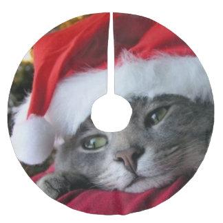 Cat Wearing Santa Hat Tree Skirt