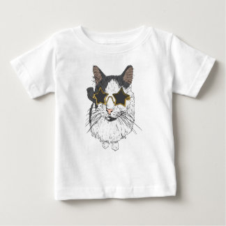 Cat Wearing Star Glasses Baby T-Shirt